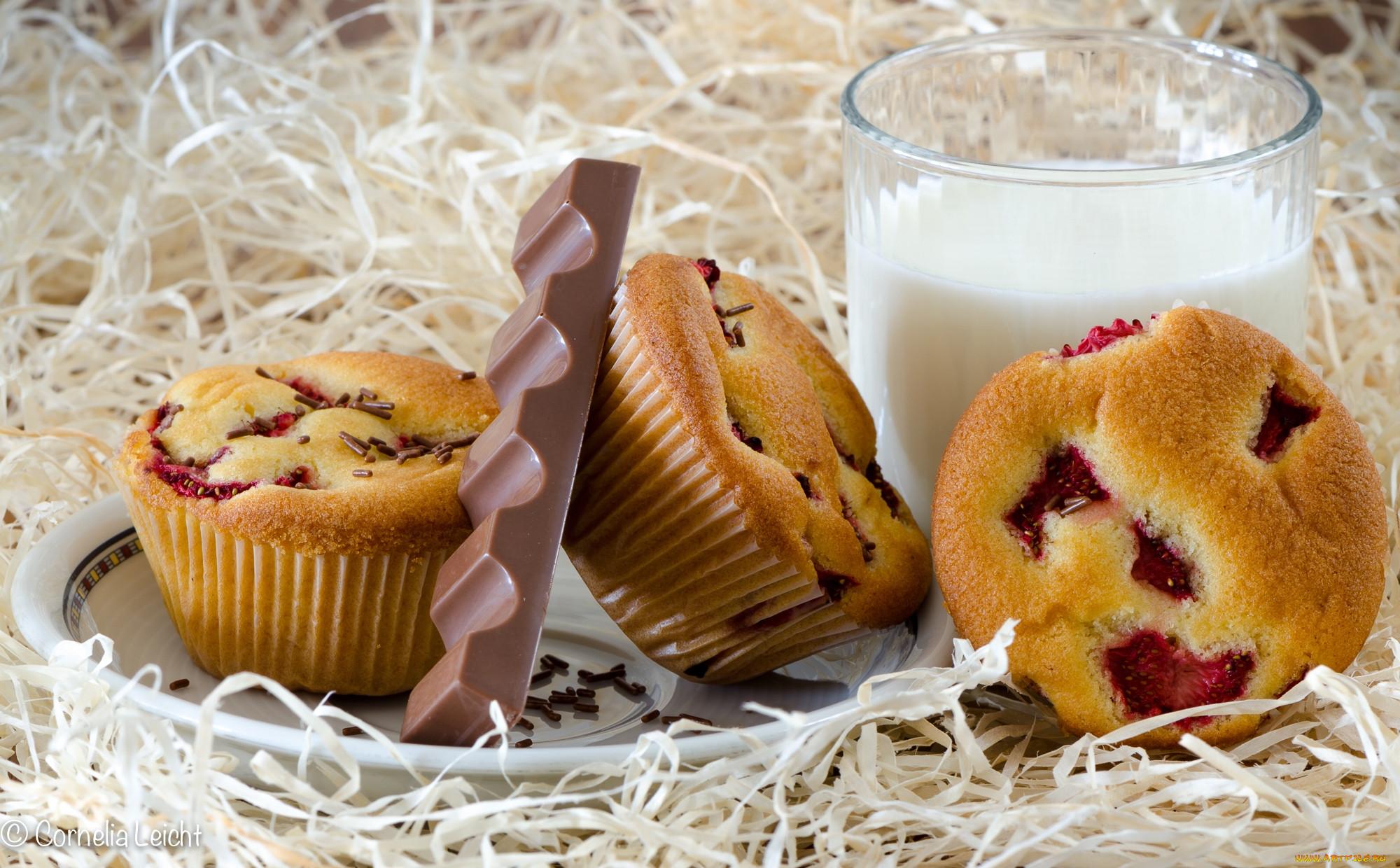 еда, пирожные, кексы, печенье, шоколад, молоко